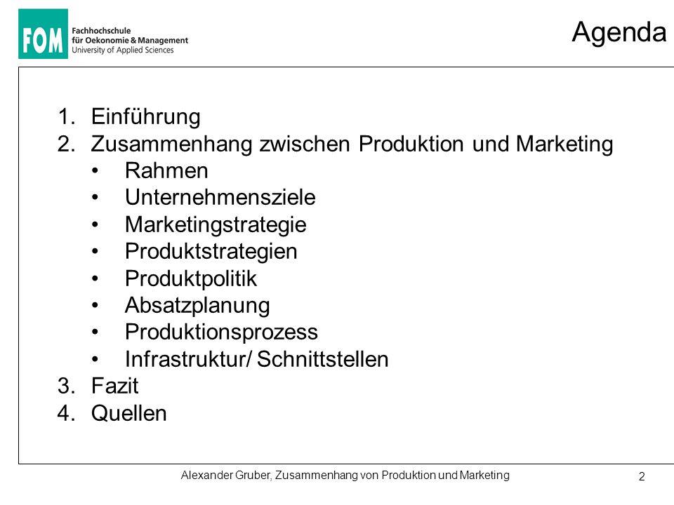 Alexander Gruber, Zusammenhang von Produktion und Marketing 2 Agenda 1.Einführung 2.Zusammenhang zwischen Produktion und Marketing Rahmen Unternehmensziele Marketingstrategie Produktstrategien Produktpolitik Absatzplanung Produktionsprozess Infrastruktur/ Schnittstellen 3.Fazit 4.Quellen