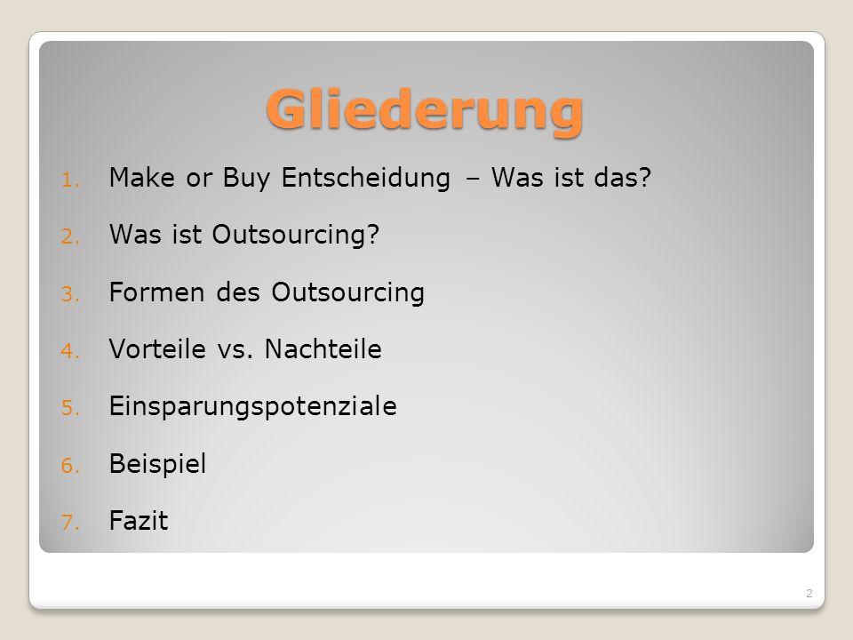 Gliederung 1. Make or Buy Entscheidung – Was ist das? 2. Was ist Outsourcing? 3. Formen des Outsourcing 4. Vorteile vs. Nachteile 5. Einsparungspotenz