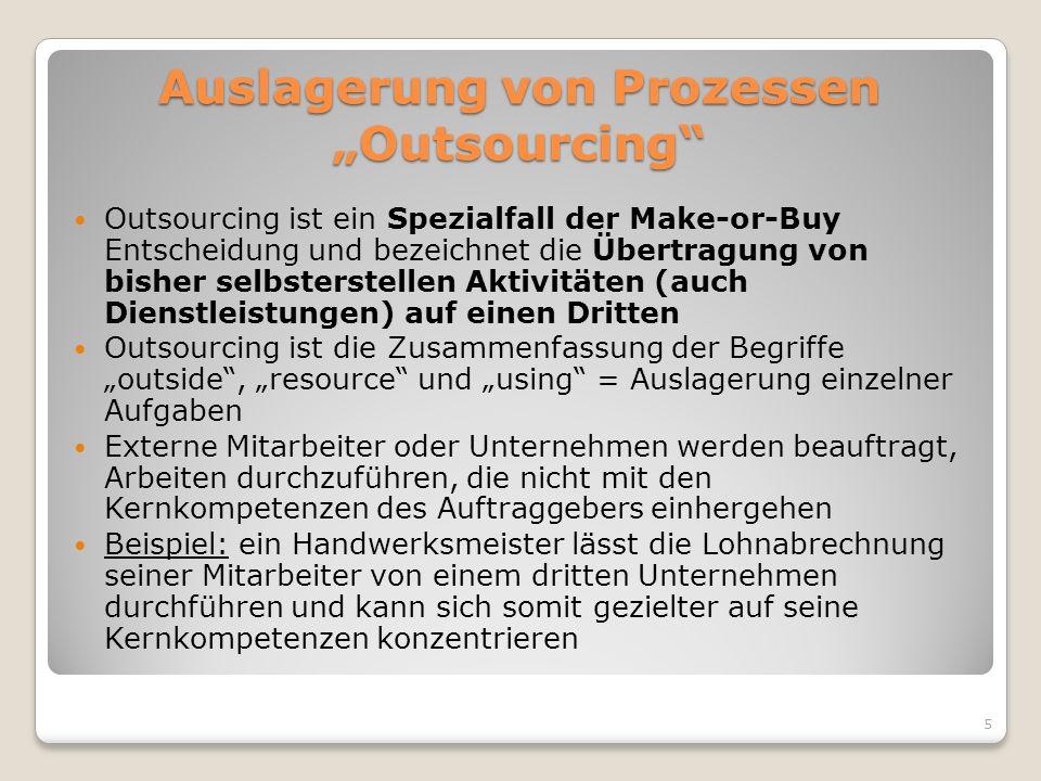 Auslagerung von Prozessen Outsourcing Outsourcing ist ein Spezialfall der Make-or-Buy Entscheidung und bezeichnet die Übertragung von bisher selbsters