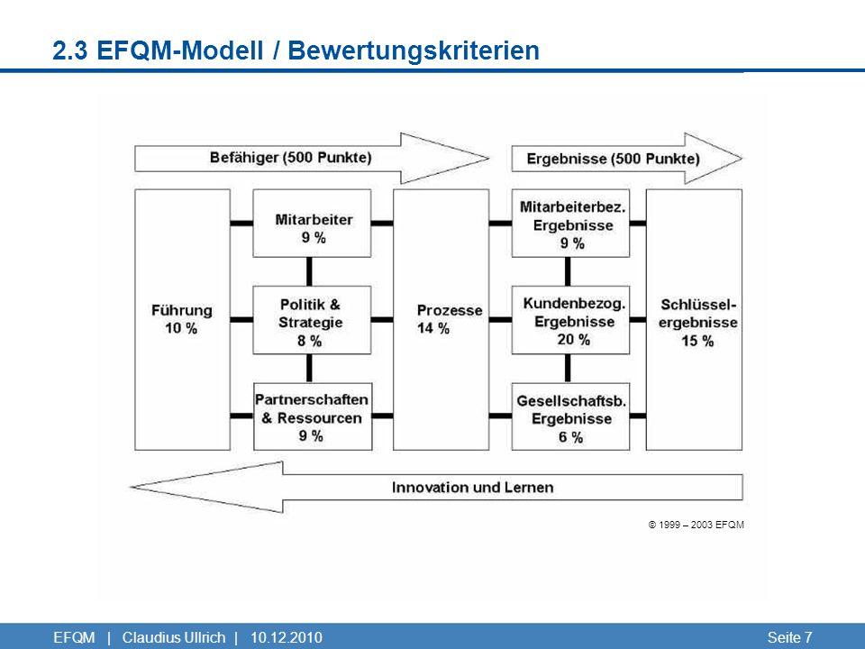 2.3 EFQM-Modell / Bewertungskriterien Seite 7EFQM | Claudius Ullrich | 10.12.2010 © 1999 – 2003 EFQM