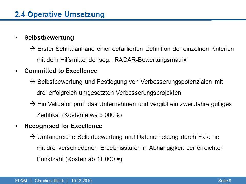 2.4 Operative Umsetzung Seite 8EFQM | Claudius Ullrich | 10.12.2010 Selbstbewertung Erster Schritt anhand einer detaillierten Definition der einzelnen