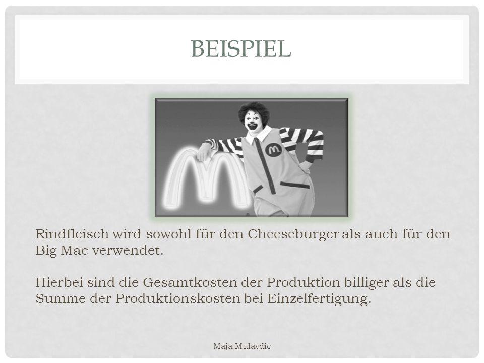 BEISPIEL Rindfleisch wird sowohl für den Cheeseburger als auch für den Big Mac verwendet. Hierbei sind die Gesamtkosten der Produktion billiger als di