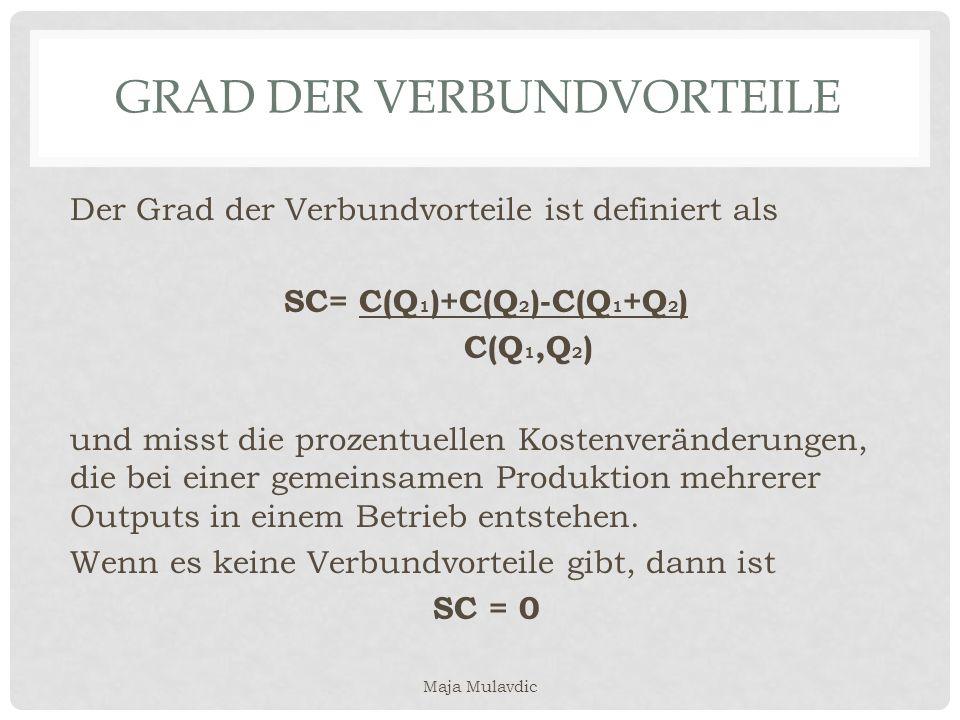 GRAD DER VERBUNDVORTEILE Der Grad der Verbundvorteile ist definiert als SC= C(Q 1 )+C(Q 2 )-C(Q 1 +Q 2 ) C(Q 1,Q 2 ) und misst die prozentuellen Koste