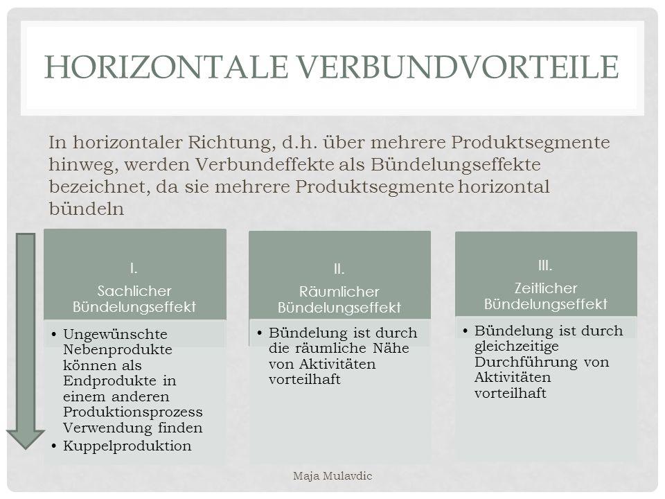 HORIZONTALE VERBUNDVORTEILE In horizontaler Richtung, d.h. über mehrere Produktsegmente hinweg, werden Verbundeffekte als Bündelungseffekte bezeichnet