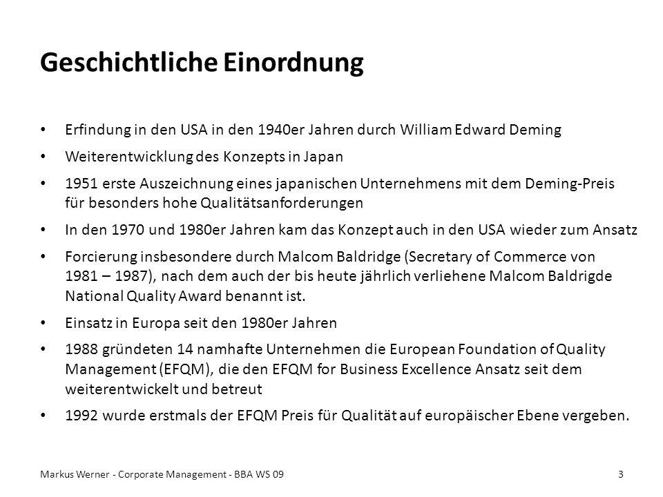 Geschichtliche Einordnung Erfindung in den USA in den 1940er Jahren durch William Edward Deming Weiterentwicklung des Konzepts in Japan 1951 erste Aus