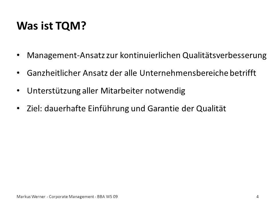 Was ist TQM? Management-Ansatz zur kontinuierlichen Qualitätsverbesserung Ganzheitlicher Ansatz der alle Unternehmensbereiche betrifft Unterstützung a