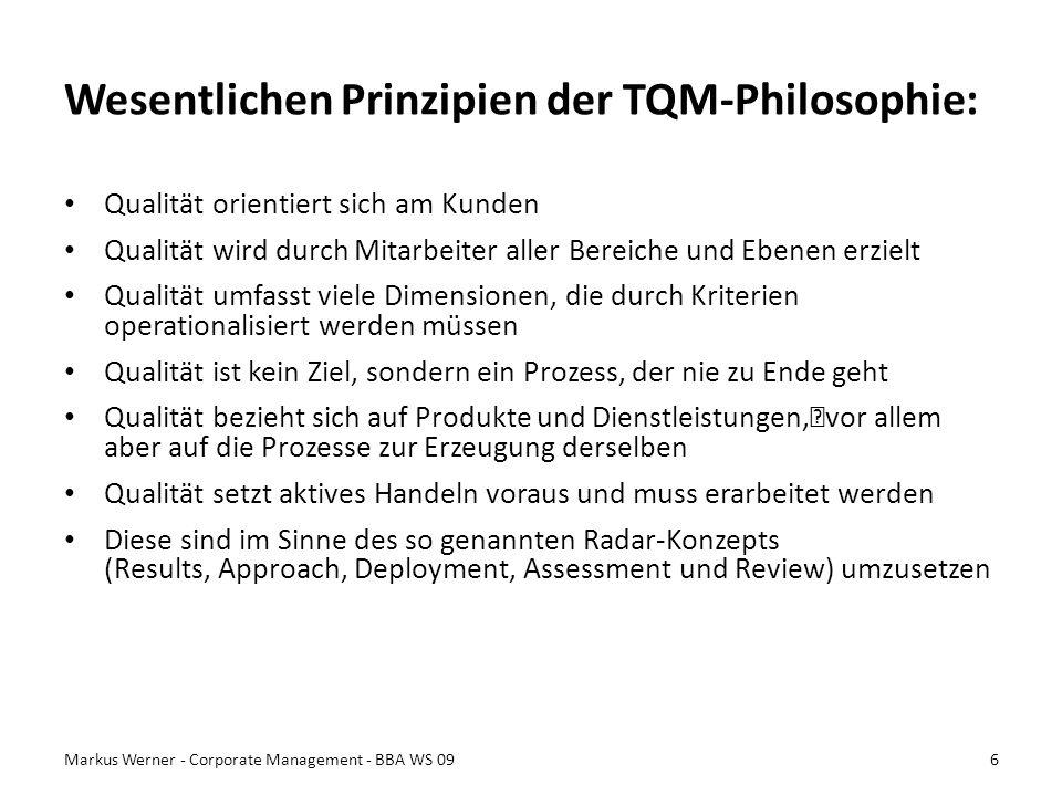 Wesentlichen Prinzipien der TQM-Philosophie: Qualität orientiert sich am Kunden Qualität wird durch Mitarbeiter aller Bereiche und Ebenen erzielt Qual