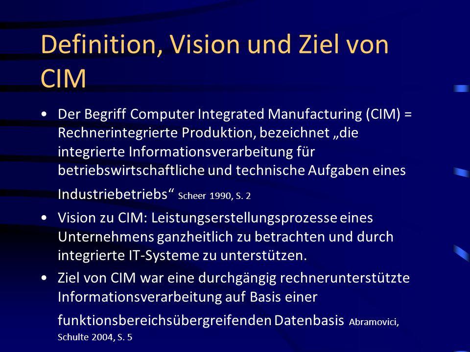 Definition, Vision und Ziel von CIM Der Begriff Computer Integrated Manufacturing (CIM) = Rechnerintegrierte Produktion, bezeichnet die integrierte In