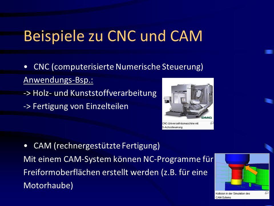 Beispiele zu CNC und CAM CNC (computerisierte Numerische Steuerung) Anwendungs-Bsp.: -> Holz- und Kunststoffverarbeitung -> Fertigung von Einzelteilen