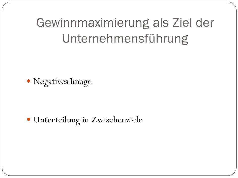 Gewinnmaximierung als Ziel der Unternehmensführung Negatives Image Unterteilung in Zwischenziele