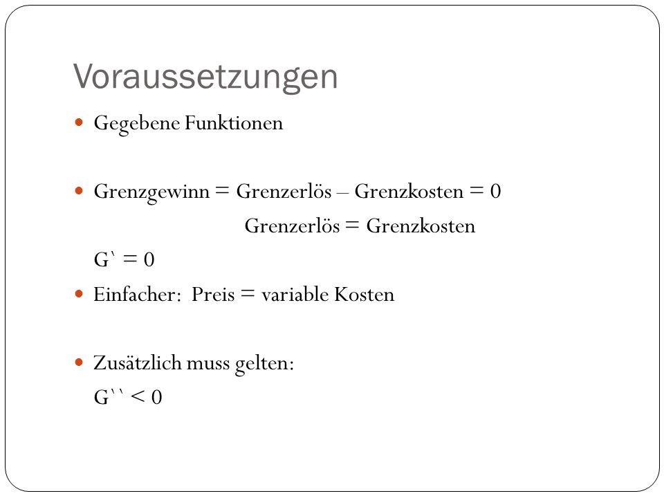 Voraussetzungen Gegebene Funktionen Grenzgewinn = Grenzerlös – Grenzkosten = 0 Grenzerlös = Grenzkosten G` = 0 Einfacher: Preis = variable Kosten Zusätzlich muss gelten: G`` < 0