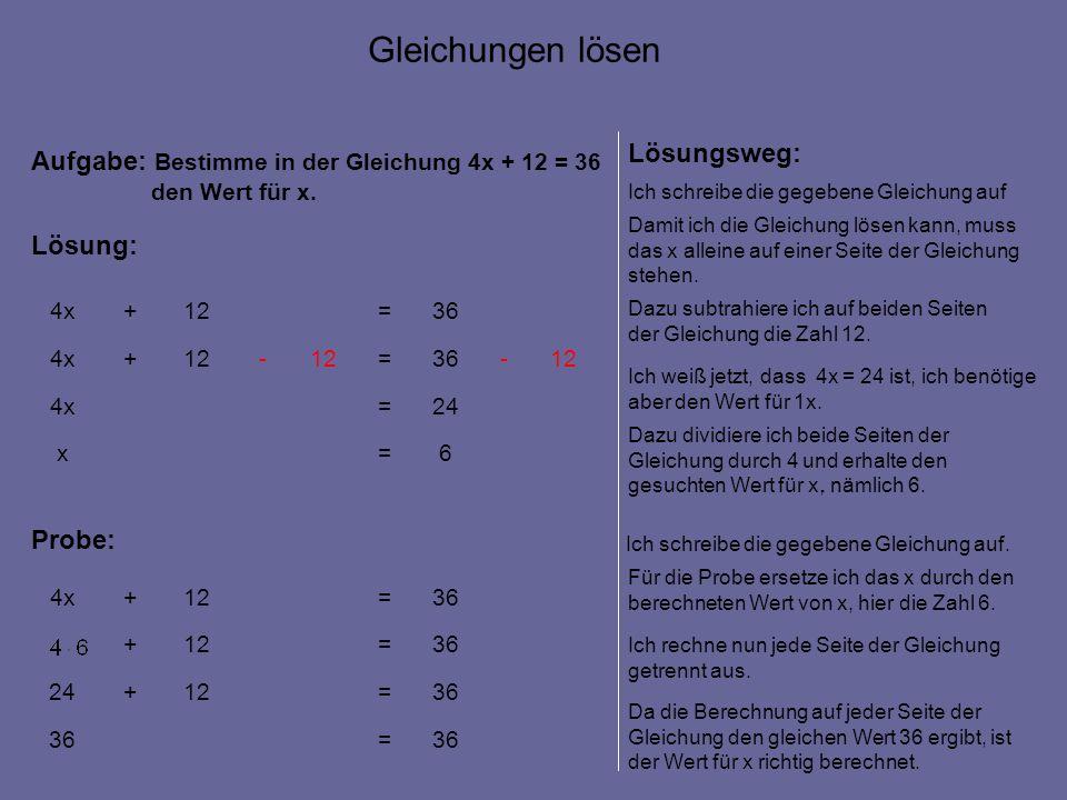6=x 24=4x 12-36=12- +4x 36=12+4x Aufgabe: Bestimme in der Gleichung 4x + 12 = 36 den Wert für x.