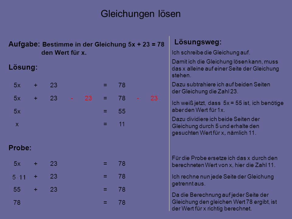 11=x 55=5x 23-78=23- +5x 78=23+5x Aufgabe: Bestimme in der Gleichung 5x + 23 = 78 den Wert für x.