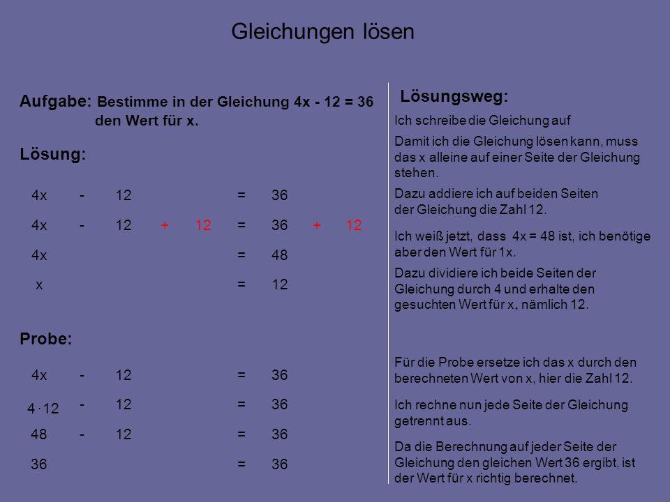 12=x 48=4x 12+36=12+ -4x 36=12-4x Aufgabe: Bestimme in der Gleichung 4x - 12 = 36 den Wert für x.