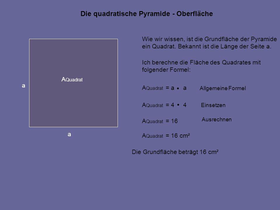 Die quadratische Pyramide - Oberfläche Wie wir wissen, ist die Grundfläche der Pyramide ein Quadrat. Bekannt ist die Länge der Seite a. Ich berechne d