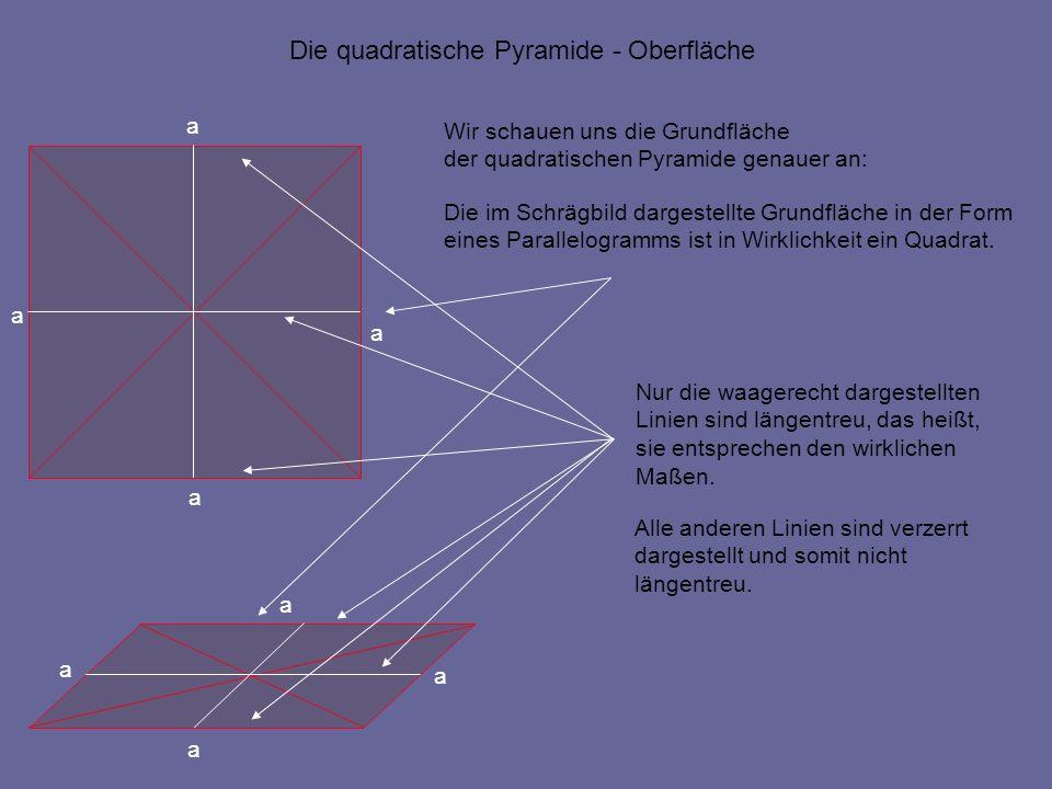 a a a a Die quadratische Pyramide - Oberfläche Wir schauen uns die Grundfläche der quadratischen Pyramide genauer an: Die im Schrägbild dargestellte G