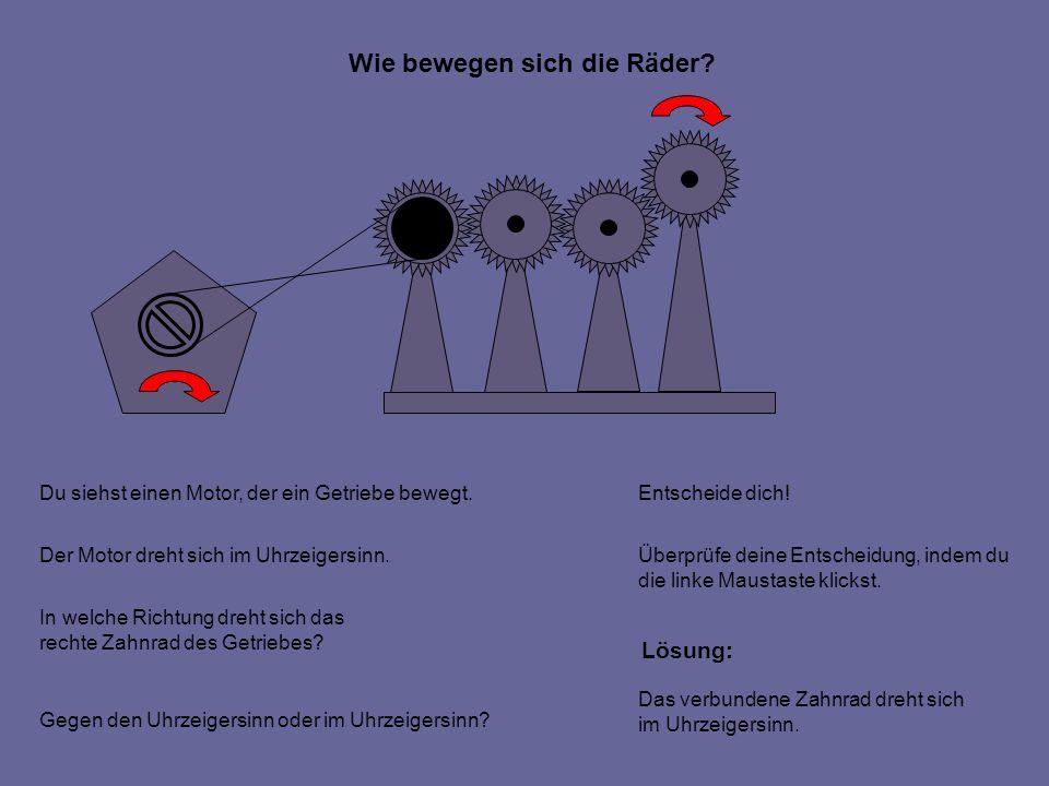 Wie bewegen sich die Räder. Du siehst einen Motor, der ein Getriebe bewegt.