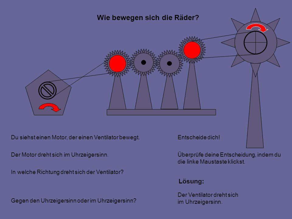 Wie bewegen sich die Räder. Du siehst einen Motor, der einen Ventilator bewegt.