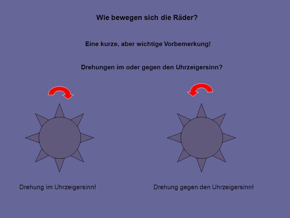 Wie bewegen sich die Räder. Eine kurze, aber wichtige Vorbemerkung.