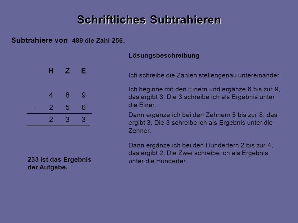 332 984 EZH 652- Lösungsbeschreibung Dann ergänze ich bei den Zehnern 5 bis zur 8, das ergibt 3.