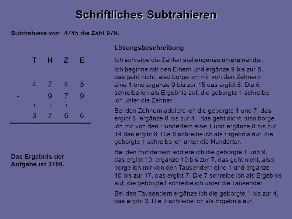 6673 111 5474 EZHT 979- Schriftliches Subtrahieren Subtrahiere von 4745 die Zahl 979.