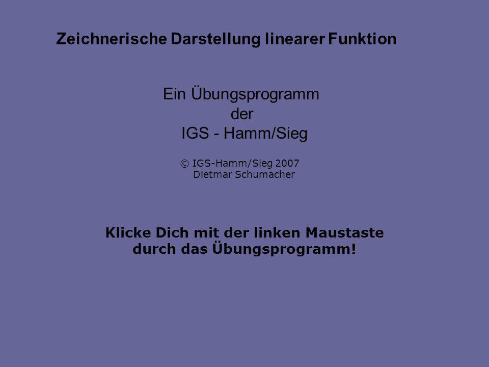 Klicke Dich mit der linken Maustaste durch das Übungsprogramm! Ein Übungsprogramm der IGS - Hamm/Sieg © IGS-Hamm/Sieg 2007 Dietmar Schumacher Zeichner