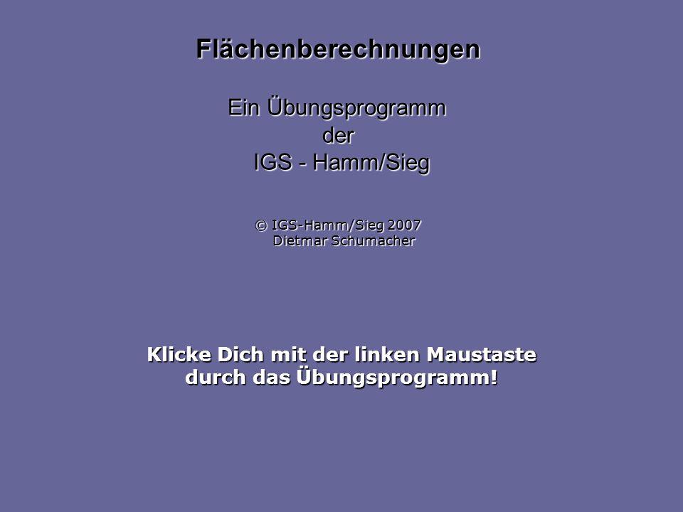 Klicke Dich mit der linken Maustaste durch das Übungsprogramm! Flächenberechnungen Ein Übungsprogramm der IGS - Hamm/Sieg © IGS-Hamm/Sieg 2007 Dietmar