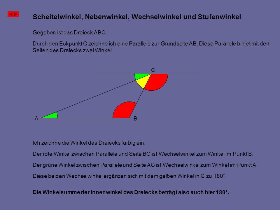 Die Winkelsumme der Innenwinkel des Dreiecks beträgt also auch hier 180°. Gegeben ist das Dreieck ABC. Durch den Eckpunkt C zeichne ich eine Parallele