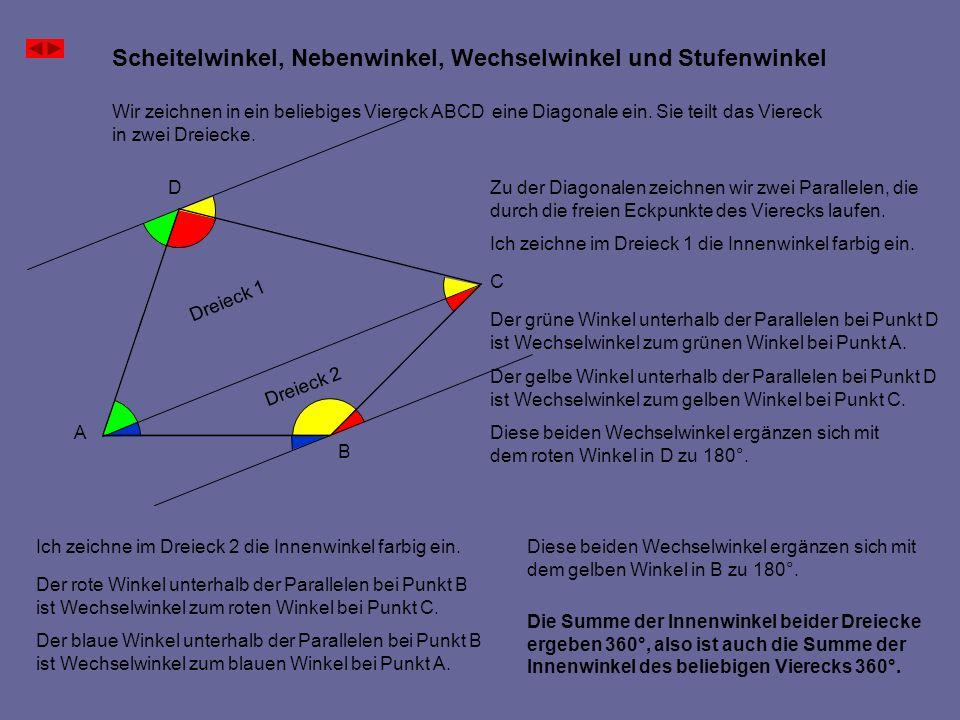Scheitelwinkel, Nebenwinkel, Wechselwinkel und Stufenwinkel A B C D Wir zeichnen in ein beliebiges Viereck ABCD eine Diagonale ein. Sie teilt das Vier