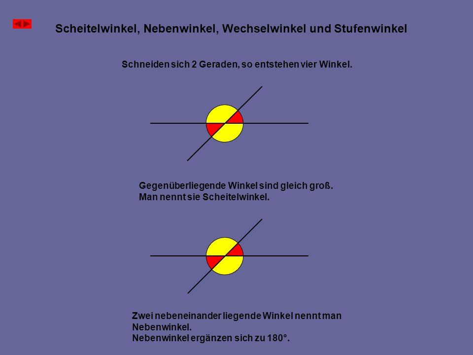 Scheitelwinkel, Nebenwinkel, Wechselwinkel und Stufenwinkel Schneiden sich 2 Geraden, so entstehen vier Winkel. Gegenüberliegende Winkel sind gleich g