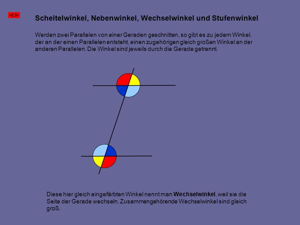 Scheitelwinkel, Nebenwinkel, Wechselwinkel und Stufenwinkel Im Parallelogramm sind gegenüberliegende Winkel gleich groß, weil es Wechselwinkel sind.