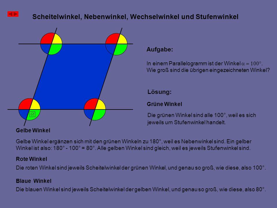 Scheitelwinkel, Nebenwinkel, Wechselwinkel und Stufenwinkel Aufgabe: In einem Parallelogramm ist der Winkel Wie groß sind die übrigen eingezeichneten