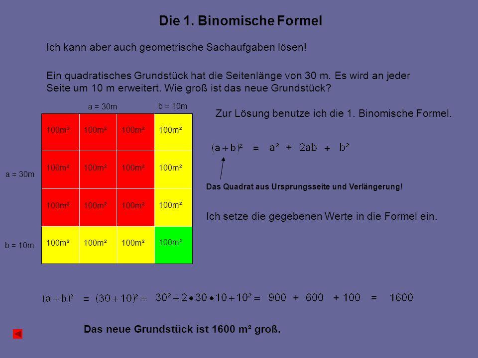 100m² a = 30m b = 10m Die 1. Binomische Formel Ich kann aber auch geometrische Sachaufgaben lösen.