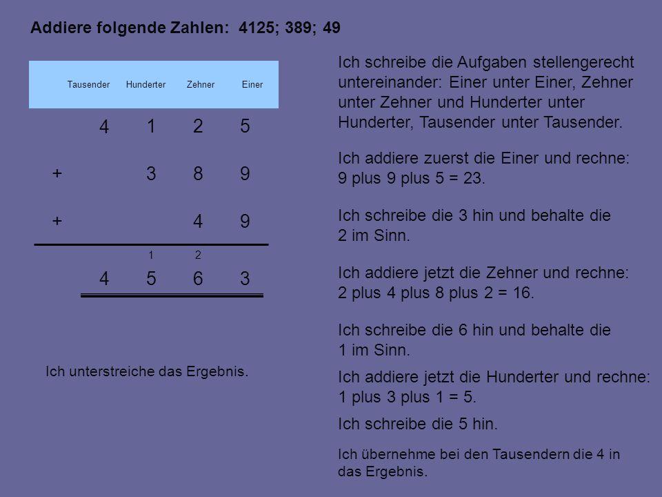 Addiere folgende Zahlen: 4125; 389; 49 4365 21 983+ 4 521 94+ Ich addiere zuerst die Einer und rechne: 9 plus 9 plus 5 = 23.
