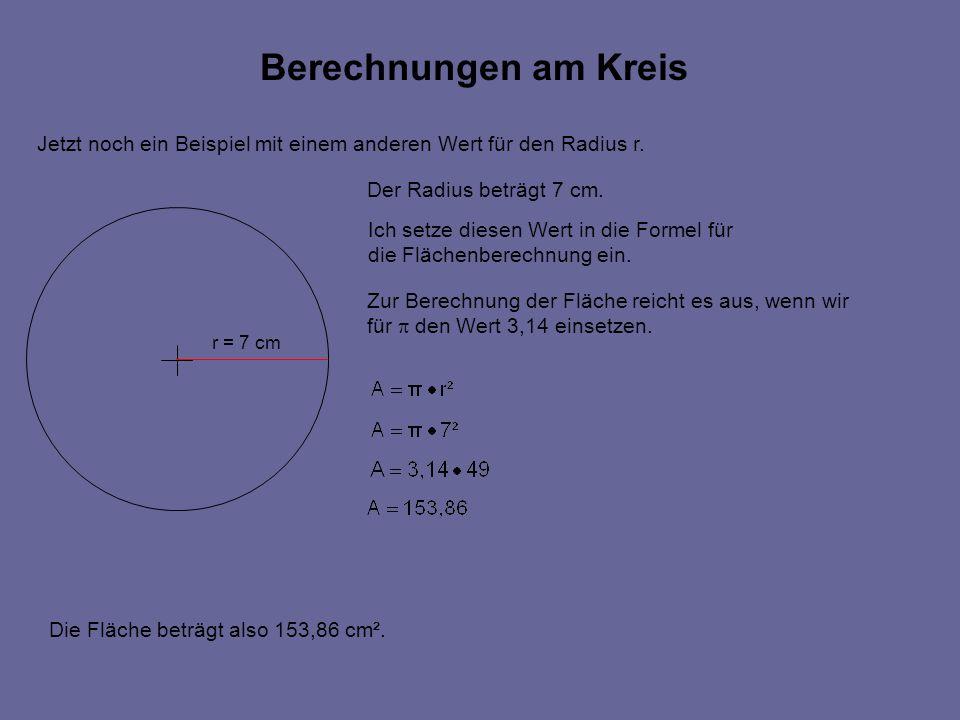 Berechnungen am Kreis r = 7 cm Der Radius beträgt 7 cm.