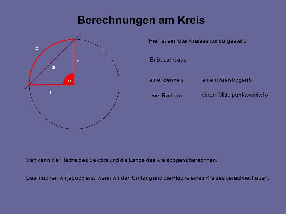 Berechnungen am Kreis Hier ist ein roter Kreissektor dargestellt.
