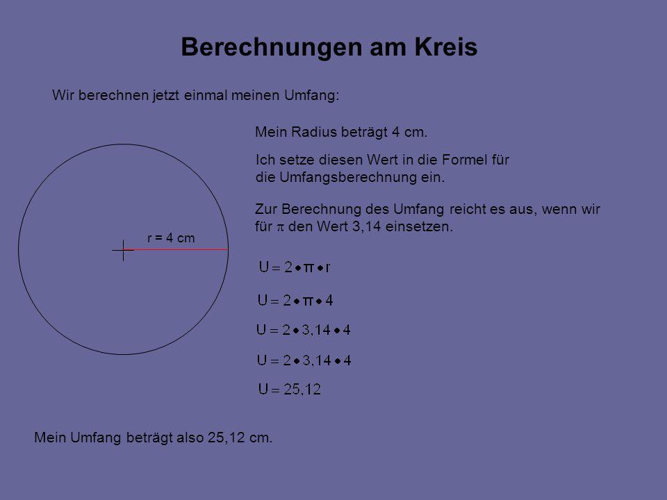 Berechnungen am Kreis Wir berechnen jetzt einmal meinen Umfang: r = 4 cm Mein Radius beträgt 4 cm.