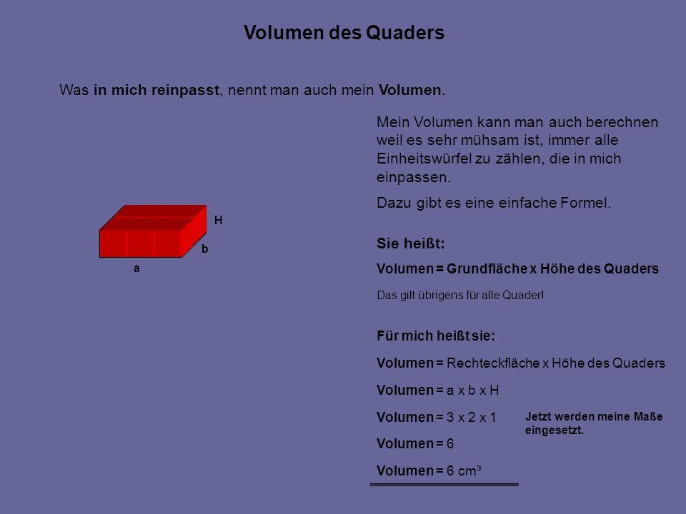 Was in mich reinpasst, nennt man auch mein Volumen. Mein Volumen kann man auch berechnen weil es sehr mühsam ist, immer alle Einheitswürfel zu zählen,