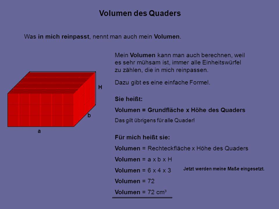 Was in mich reinpasst, nennt man auch mein Volumen. Mein Volumen kann man auch berechnen, weil es sehr mühsam ist, immer alle Einheitswürfel zu zählen