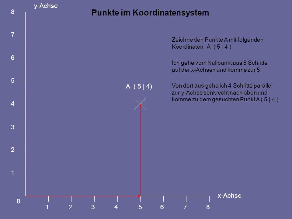 A ( 5   4) Zeichne den Punkte A mit folgenden Koordinaten: A ( 5   4 ) Ich gehe vom Nullpunkt aus 5 Schritte auf der x-Achsen und komme zur 5. y-Achse