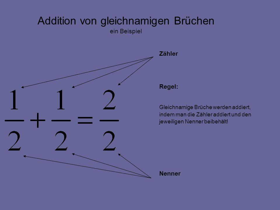 Addition von gleichnamigen Brüchen Zähler Regel: Gleichnamige Brüche werden addiert, indem man die Zähler addiert und den jeweiligen Nenner beibehält.