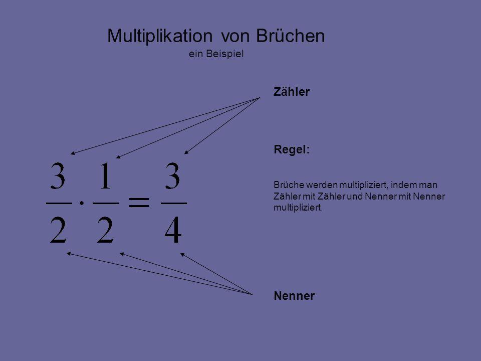 Multiplikation von Brüchen ein Beispiel Zähler Regel: Brüche werden multipliziert, indem man Zähler mit Zähler und Nenner mit Nenner multipliziert. Ne