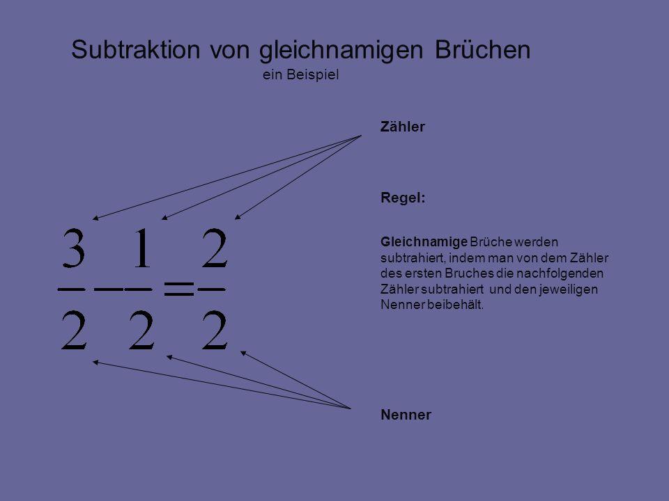 Subtraktion von gleichnamigen Brüchen Zähler Regel: Gleichnamige Brüche werden subtrahiert, indem man von dem Zähler des ersten Bruches die nachfolgenden Zähler subtrahiert und den jeweiligen Nenner beibehält.