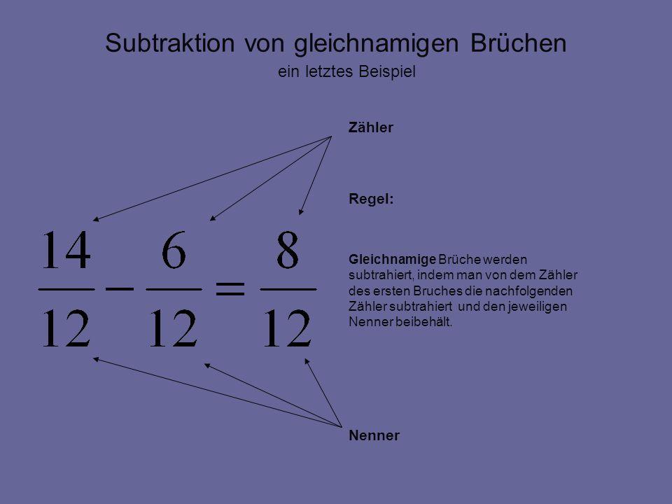 Subtraktion von gleichnamigen Brüchen Zähler Regel: Gleichnamige Brüche werden subtrahiert, indem man von dem Zähler des ersten Bruches die nachfolgen