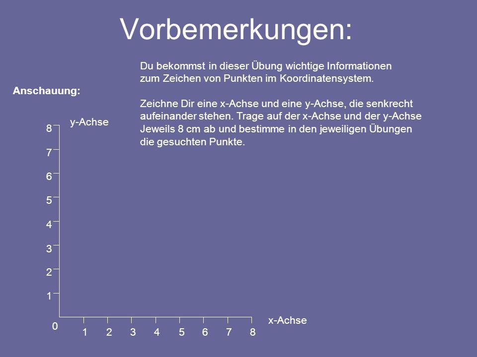 Vorbemerkungen: Du bekommst in dieser Übung wichtige Informationen zum Zeichen von Punkten im Koordinatensystem.