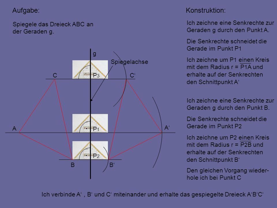 Aufgabe: A B CC B A Spiegelachse P3P3 P1P1 P2P2 g Spiegele das Dreieck ABC an der Geraden g. Ich zeichne eine Senkrechte zur Geraden g durch den Punkt