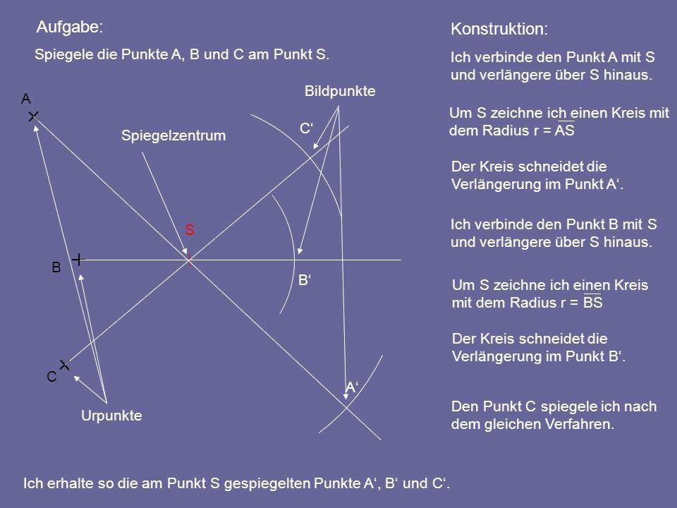 Aufgabe: Ich verbinde den Punkt A mit S und verlängere über S hinaus. Konstruktion: Ich erhalte so die am Punkt S gespiegelten Punkte A, B und C. A B