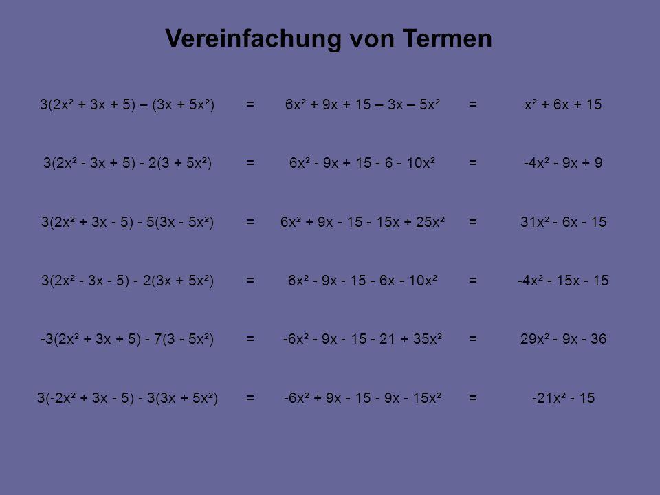 -21x² - 15=-6x² + 9x - 15 - 9x - 15x²=3(-2x² + 3x - 5) - 3(3x + 5x²) 29x² - 9x - 36=-6x² - 9x - 15 - 21 + 35x²=-3(2x² + 3x + 5) - 7(3 - 5x²) -4x² - 15x - 15=6x² - 9x - 15 - 6x - 10x²=3(2x² - 3x - 5) - 2(3x + 5x²) 31x² - 6x - 15=6x² + 9x - 15 - 15x + 25x²=3(2x² + 3x - 5) - 5(3x - 5x²) -4x² - 9x + 9=6x² - 9x + 15 - 6 - 10x²=3(2x² - 3x + 5) - 2(3 + 5x²) x² + 6x + 15=6x² + 9x + 15 – 3x – 5x²=3(2x² + 3x + 5) – (3x + 5x²) Vereinfachung von Termen