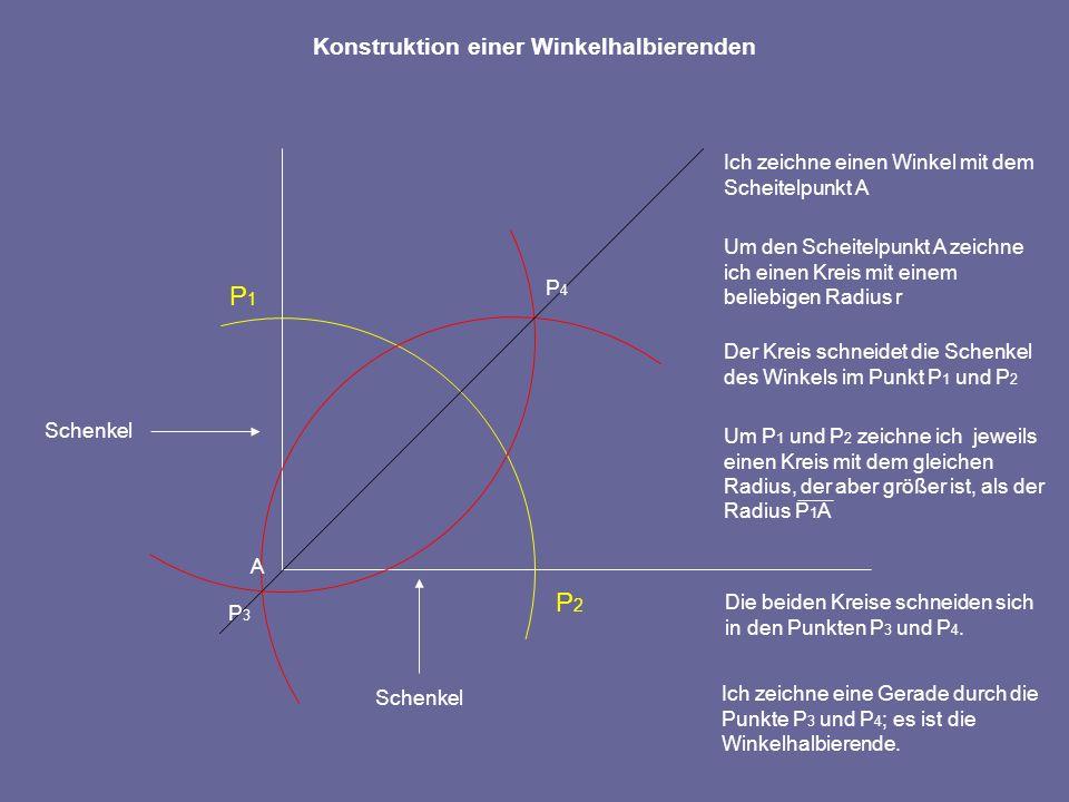 Winkel an sich zwei schneidenden Geraden Gegenüberliegende Winkel heißen Scheitelwinkel, sie sind gleich groß.
