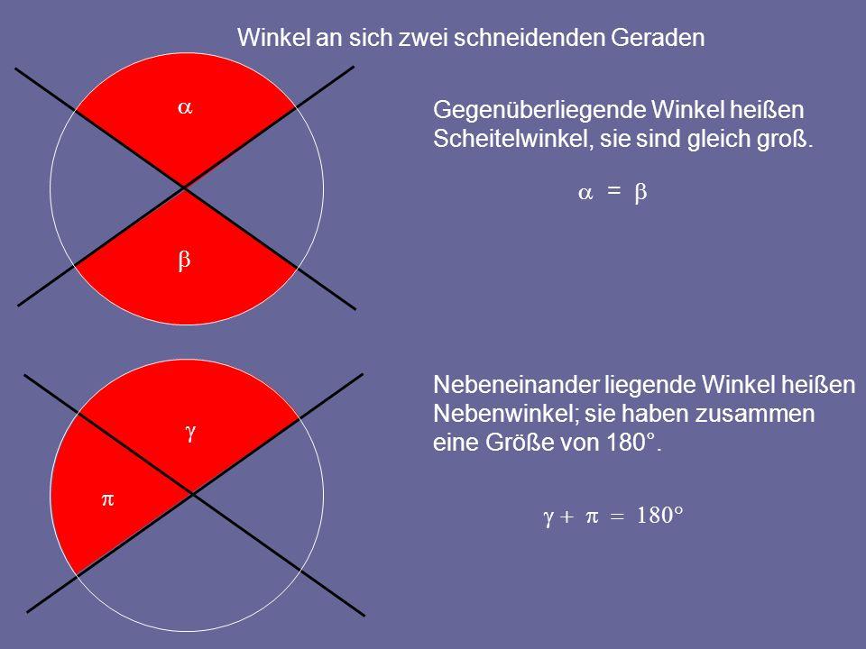 Winkel an sich zwei schneidenden Geraden Gegenüberliegende Winkel heißen Scheitelwinkel, sie sind gleich groß. = Nebeneinander liegende Winkel heißen